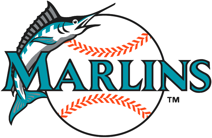 Florida Marlins Logo Alternate Logo (1993-2004) - Marlins in teal with black outline and leaping marlin on baseball SportsLogos.Net