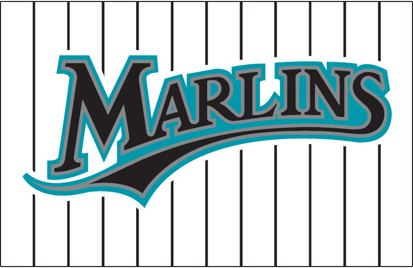 Florida Marlins Logo Jersey Logo (2003-2011) - Marlins in black with silver and teal outlines on white with black pinstripes, worn on Florida Marlins home jersey from 2003 through 2011 SportsLogos.Net
