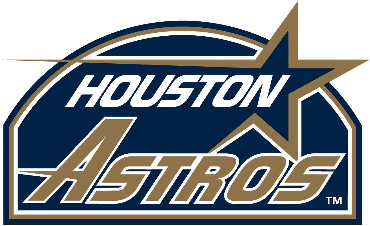 Houston Astros Logo Primary Logo (1994) - Shooting gold star with script inside navy blue Astrodome SportsLogos.Net