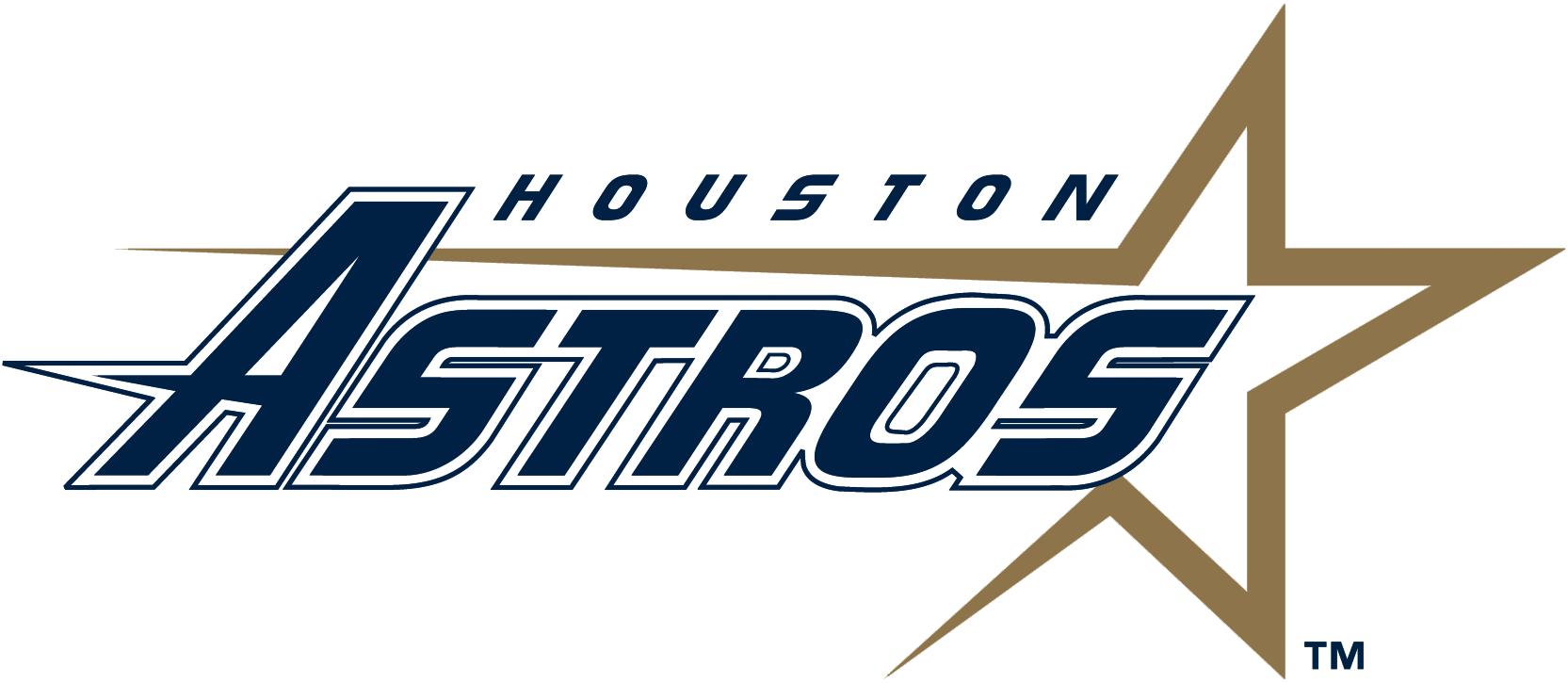 Houston Astros Logo Primary Logo (1995-1999) - Shooting gold star with Houston Astros script SportsLogos.Net