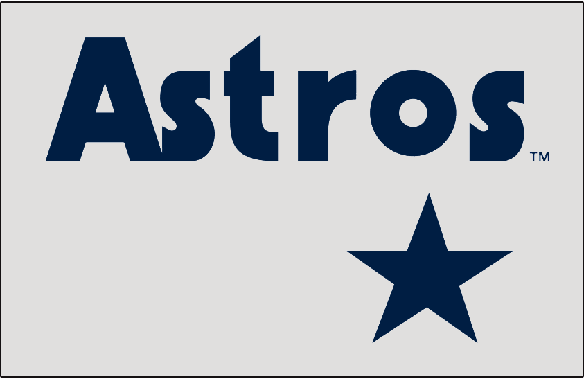 Houston Astros Logo Jersey Logo (1980-1982) - ASTROS in blue with a star below on grey, worn on Houston Astros road jersey from 1980-82 SportsLogos.Net