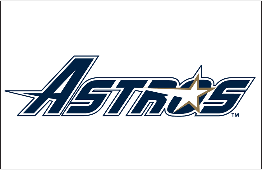 Houston Astros Logo Jersey Logo (1994-1999) - (Home) 'Astros' in blue with a star in the 'O' SportsLogos.Net