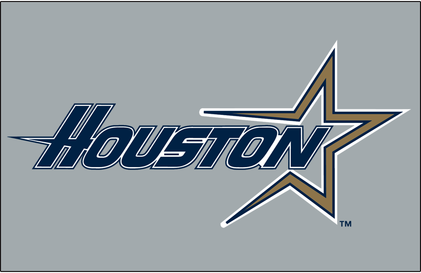 Houston Astros Logo Jersey Logo (1997-1999) - HOUSTON in blue with a gold star shooting across on navy blue. Worn on Houston Astros road uniform from 1997-99 SportsLogos.Net
