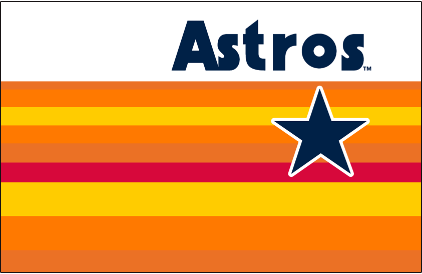 Houston Astros Logo Jersey Logo (1984-1986) - Astros in blue above a rainbow of colours including red, yellow, and two shades of orange behind a blue star outlined in white. Worn on Houston Astros home jerseys from 1984 to 1986 SportsLogos.Net