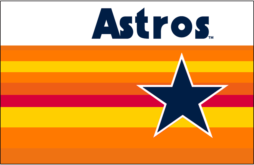 Houston Astros Logo Jersey Logo (1982-1983) - Astros in blue above a rainbow of colours including red, yellow, and two shades of orange behind a blue star outlined in white. Worn on Houston Astros home jerseys from in 1982 and 1983 SportsLogos.Net