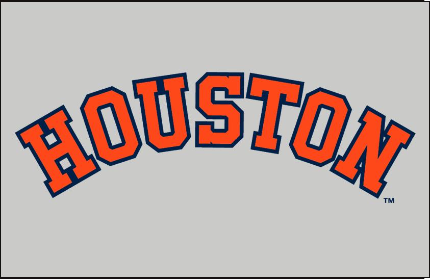 Houston Astros Logo Jersey Logo (1971-1972) - Houston in orange with blue trim on grey, worn on 1971-72 Houston Astros road uniform SportsLogos.Net