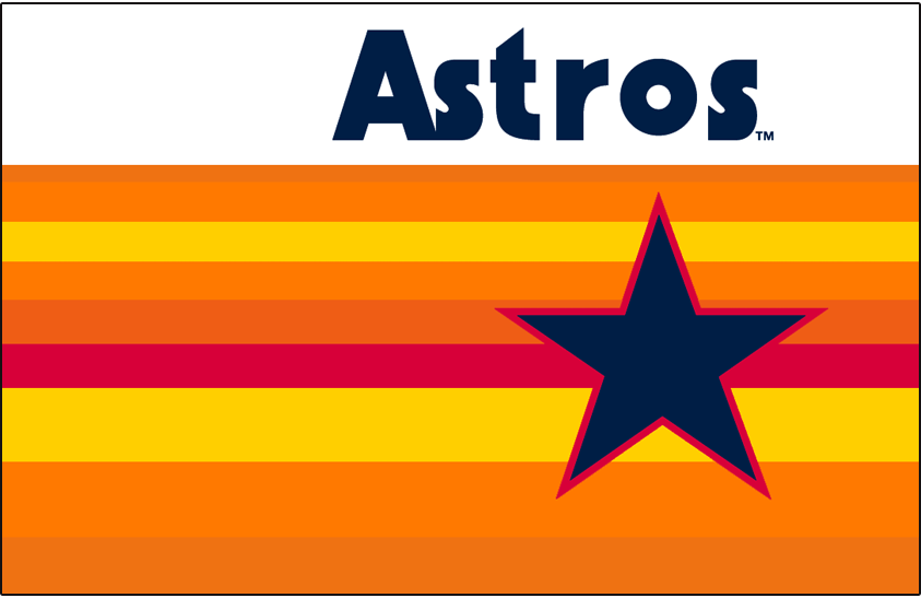 Houston Astros Logo Jersey Logo (1975-1981) - Astros in blue above a rainbow of colours including red, yellow, and two shades of orange behind a blue star outlined in red. Worn on Houston Astros home and road jerseys from 1975-79, continued to be worn on their home jerseys through 1981 SportsLogos.Net