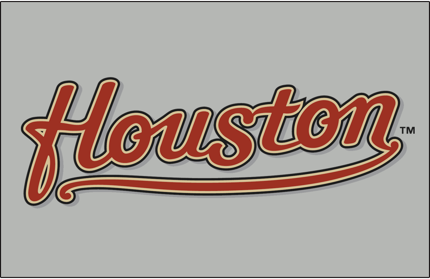 Houston Astros Logo Jersey Logo (2000-2012) - (Road) Houston scripted in brick with sand and black outlines on grey SportsLogos.Net