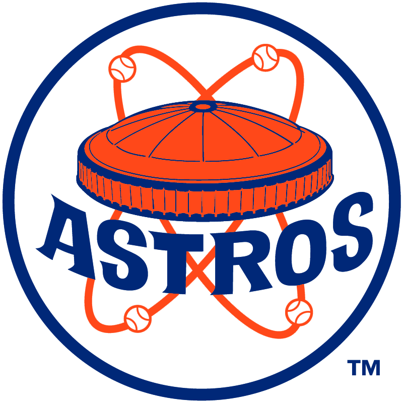 Houston Astros Logo Alternate Logo (1972) - Orange and blue Astrodome stadium with baseballs orbiting around it, ASTROS arched below in blue in a blue and white circle. Worn on sleeve of Houston Astros road jersey during 1972 season only SportsLogos.Net