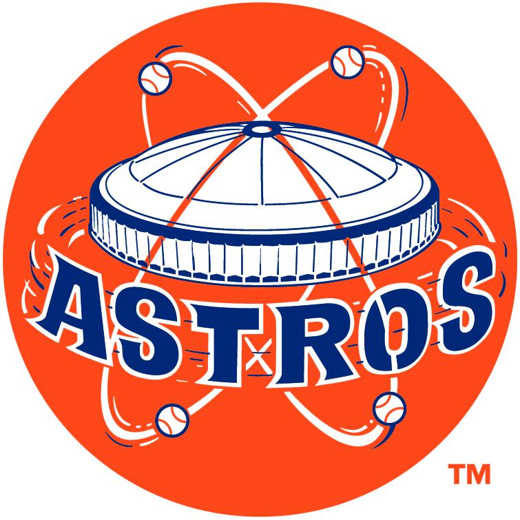 Houston Astros Logo Primary Logo (1965-1976) - Astrodome above Astros white script on orange SportsLogos.Net