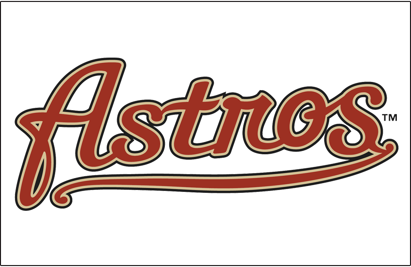 Houston Astros Logo Jersey Logo (2002-2012) - (Alternate) Astros scripted in brick with sand and black outlines on white SportsLogos.Net