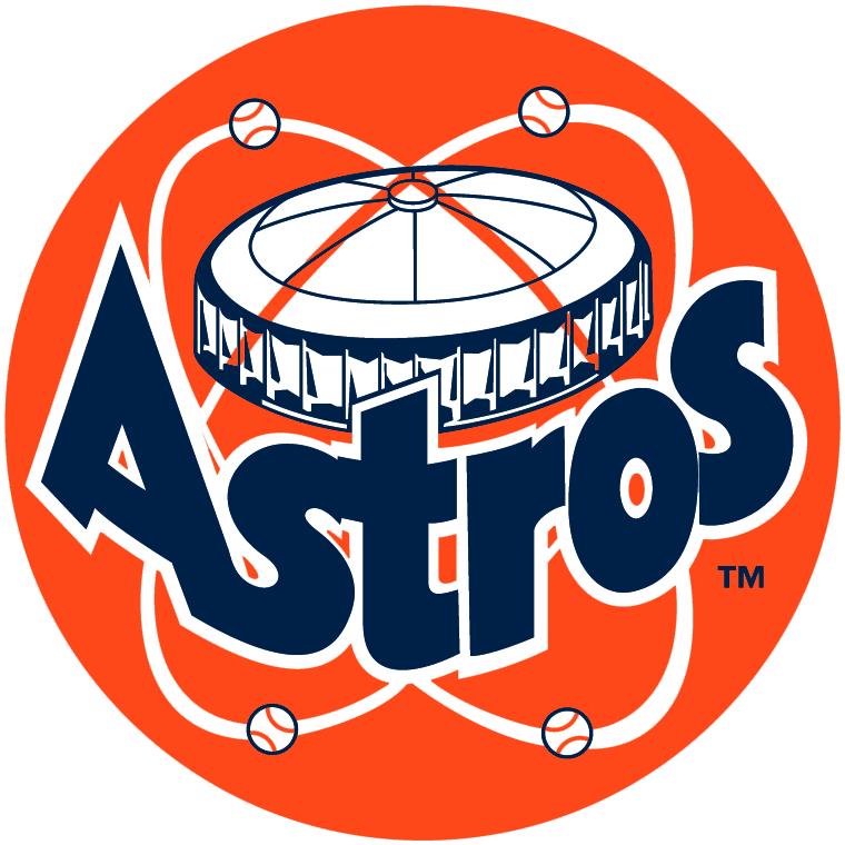 Houston Astros Logo Primary Logo (1977-1993) - Astrodome above Astros blue script on orange SportsLogos.Net