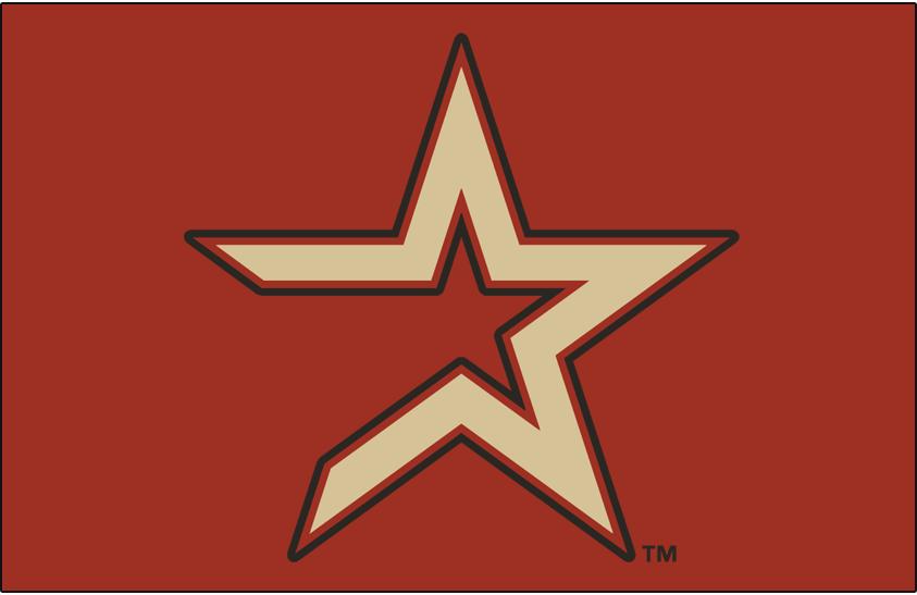 Houston Astros Logo Cap Logo (2000-2012) - Tan star with coal outline on brick SportsLogos.Net