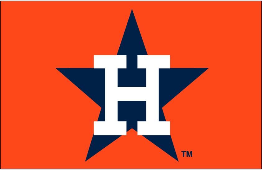Houston Astros Logo Cap Logo (1971-1982) - White H over blue star on orange SportsLogos.Net