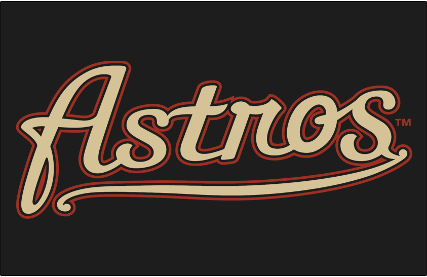 Houston Astros Logo Jersey Logo (2000-2001) - (Alternate) Astros scripted in sand with black and brick outlines on black SportsLogos.Net