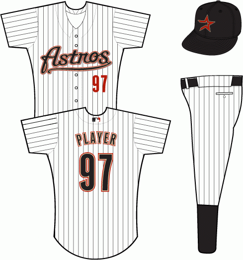 Houston Astros Uniform Home Uniform (2000-2001) - Astros scripted in black with sand and brick outlines and a grey shadow on a white uniform with black pinstripes SportsLogos.Net