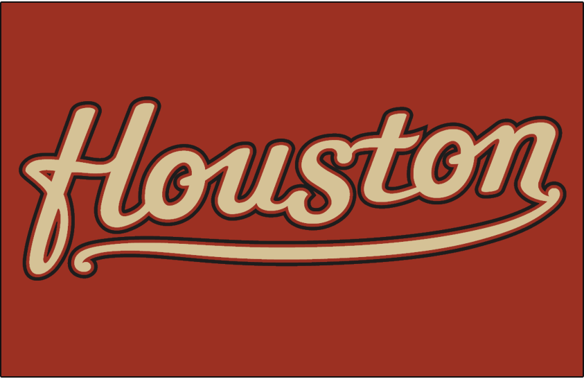 Houston Astros Logo Jersey Logo (2001-2012) - (Alternate) Houston scripted in sand with brick and black outlines on brick SportsLogos.Net