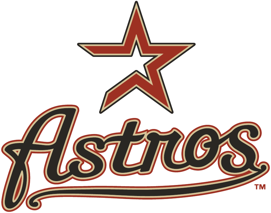 Houston Astros Logo Primary Logo (2000-2012) - Brick and tan star above Astros script in black SportsLogos.Net