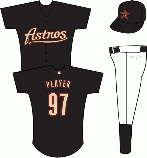 Houston Astros Uniform Alternate Uniform (2000-2001) - Astros scripted in sand with black and brick outlines on a black uniform SportsLogos.Net