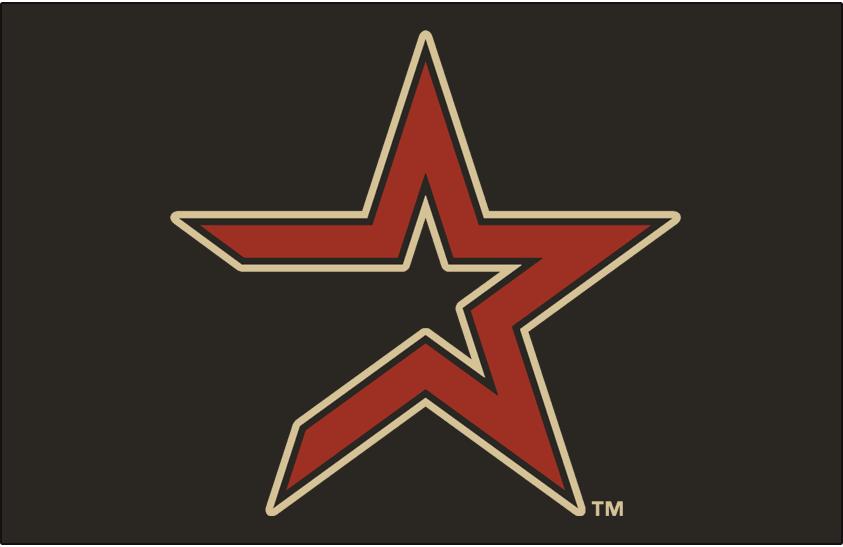 Houston Astros Logo Cap Logo (2000-2012) - Brick star with tan outline on coal SportsLogos.Net