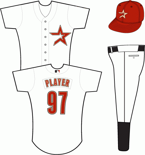 Houston Astros Uniform Alternate Uniform (2000-2001) - A star in brick with sand and black outlines on a white uniform SportsLogos.Net