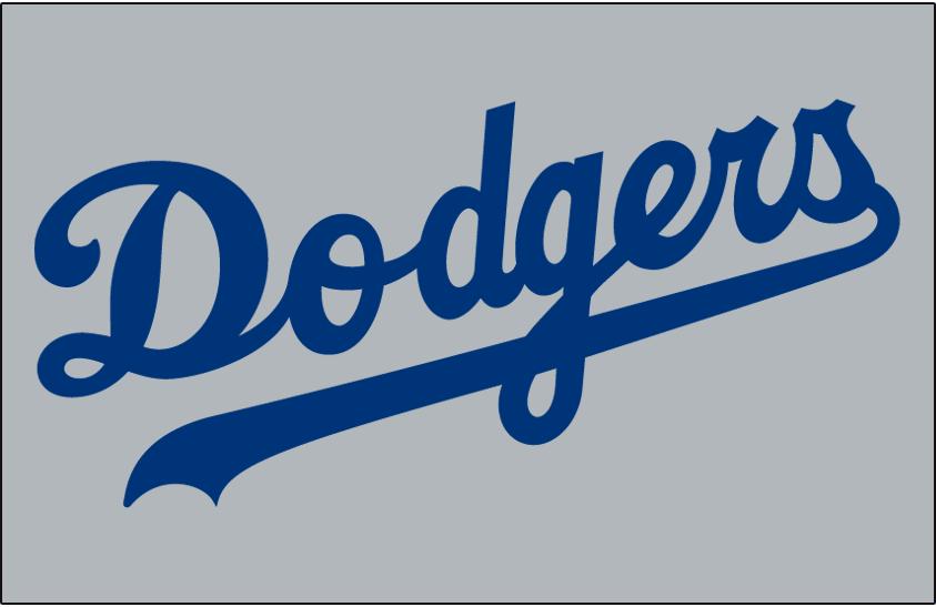 Los Angeles Dodgers Logo Jersey Logo (1972-1976) - Dodgers in blue on grey, worn on Dodgers road jersey from 1972 through 1976 SportsLogos.Net