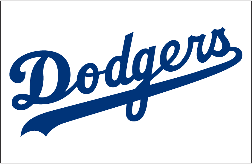 Los Angeles Dodgers Logo Jersey Logo (1999-2002) - Dodgers in blue on white, worn on Dodgers home jersey from 1999 through 2002 SportsLogos.Net