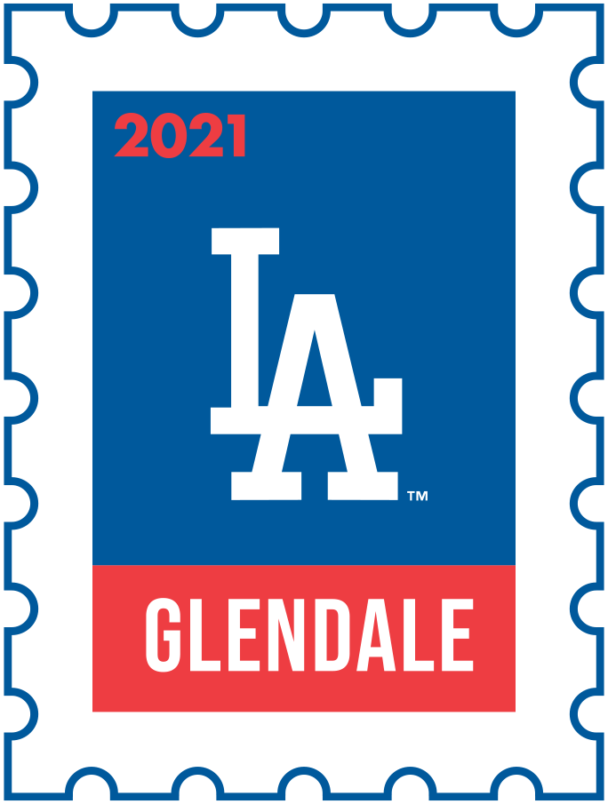 Los Angeles Dodgers Logo Event Logo (2021) - The Los Angeles Dodgers 2021 Spring Training logo, the design follows a league-wide style using a postage stamp in team colours with the team logo in the middle. SportsLogos.Net