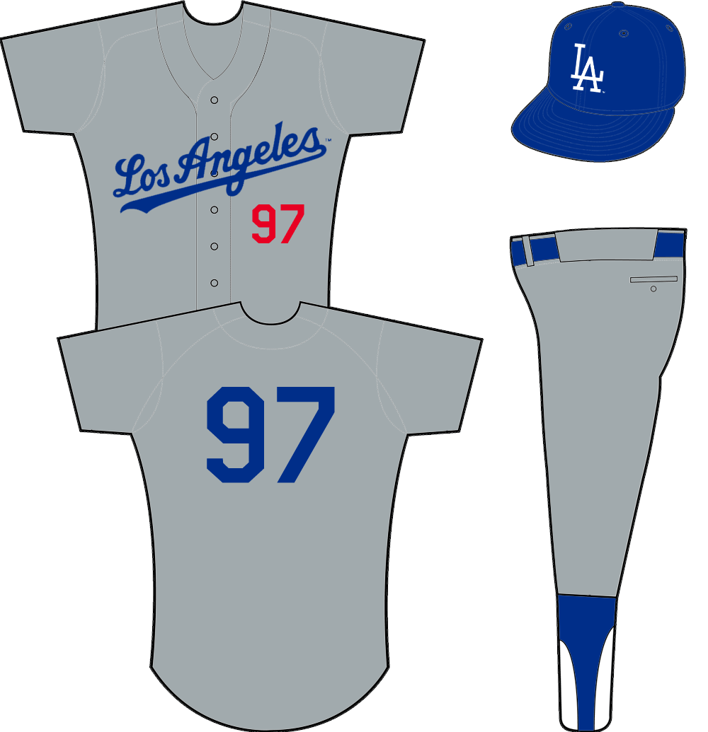 Los Angeles Dodgers Uniform Road Uniform (1959-1969) - Los Angeles scripted in blue across a grey jersey with player number in red below script SportsLogos.Net