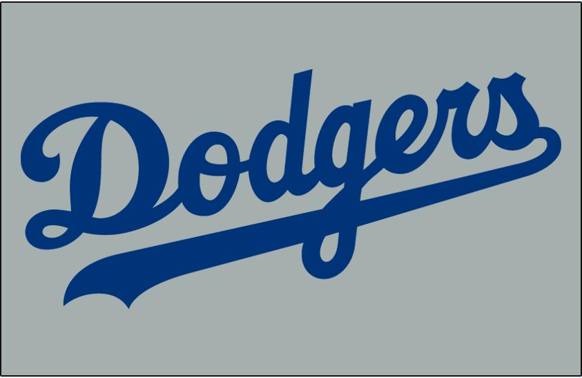 Los Angeles Dodgers Logo Jersey Logo (2014-Pres) - Dodgers in blue on grey, worn on Dodgers road alternate jersey since 2014 SportsLogos.Net