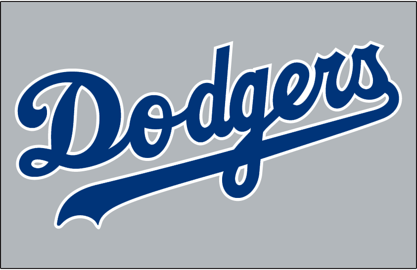 Los Angeles Dodgers Logo Jersey Logo (1977-1998) - Dodgers in blue and white on grey, worn on Dodgers road jersey from 1977 through 1998 SportsLogos.Net