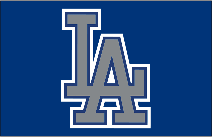 Los Angeles Dodgers Logo Cap Logo (1999) - (Alt) Interlocking silver LA with blue and white outlines on blue SportsLogos.Net