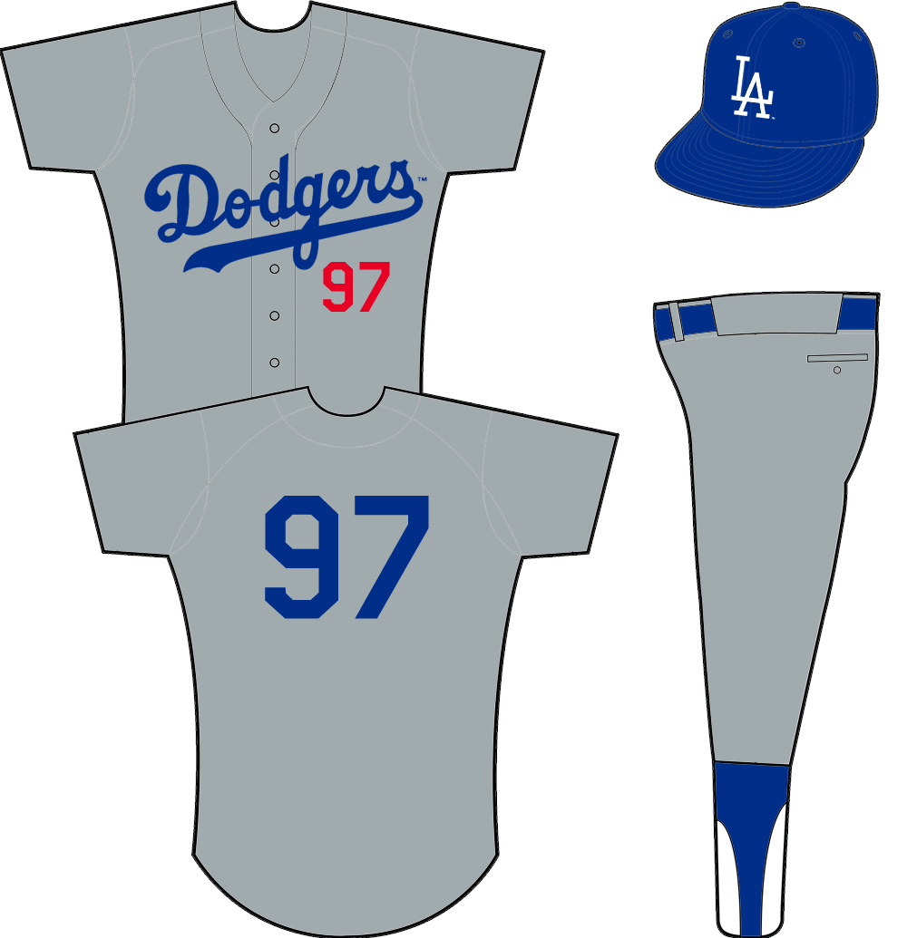 Los Angeles Dodgers Uniform Road Uniform (1958) - Dodgers scripted in blue across a grey jersey with player number in red below script SportsLogos.Net