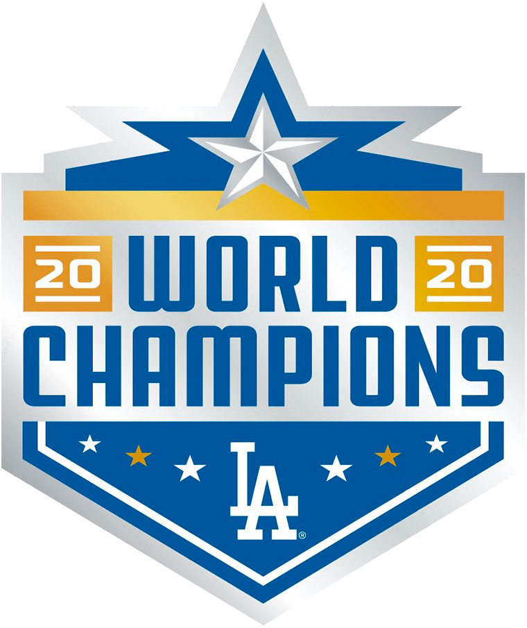 Los Angeles Dodgers Logo Champion Logo (2020) - The Los Angeles Dodgers 2020 World Series Champions logo is in the shape of Globe Life Field in Arlington, the site of the 2020 World Series, six smaller white and gold stars around the bottom represent their previous six titles with one large silver star above for the 7th title (and a nod to Texas, the site of their Postseason). The year 2020 is presented similar to the MLB Postseason logo package of the season as is the inclusion of gold and silver gradients. SportsLogos.Net