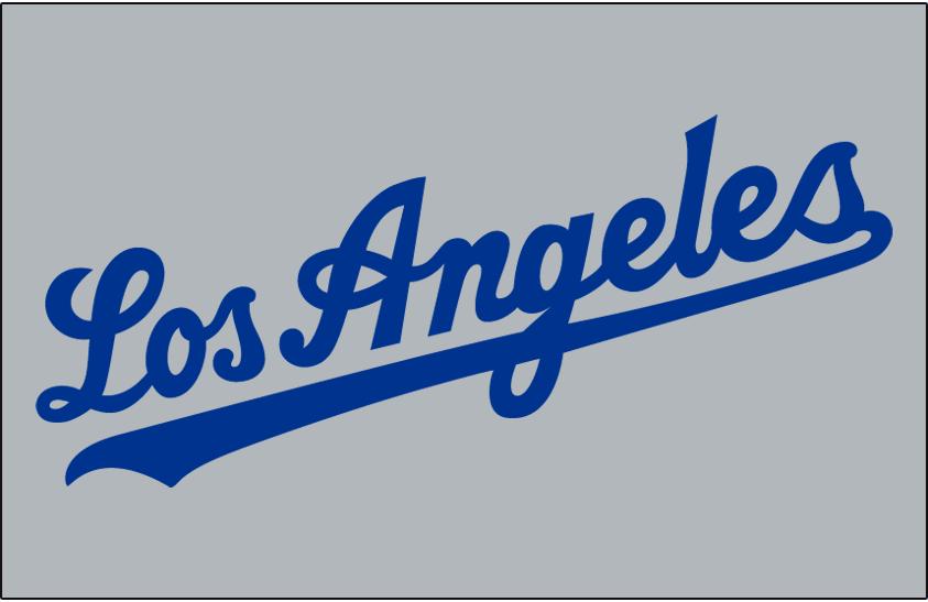 Los Angeles Dodgers Logo Jersey Logo (1959-1969) - Los Angeles in blue on grey, worn on Dodgers road jersey from 1959 through 1969 SportsLogos.Net