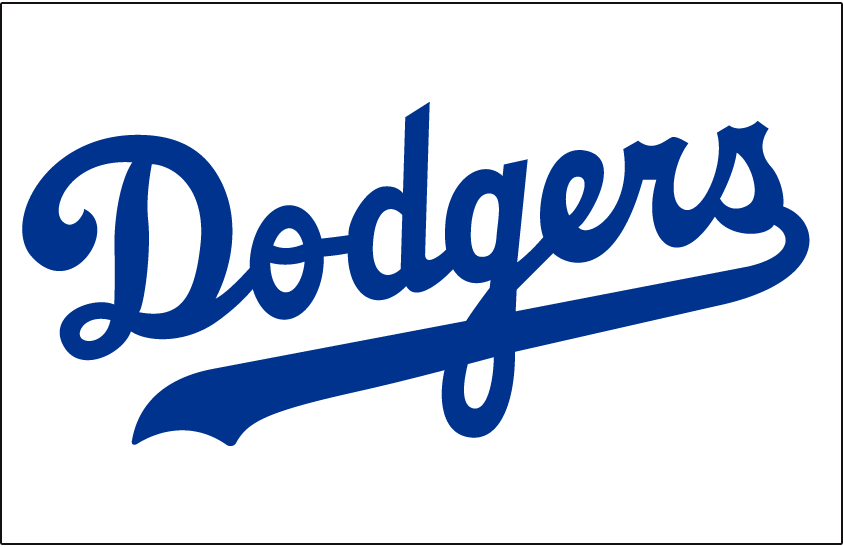 Los Angeles Dodgers Logo Jersey Logo (1958-1971) - Dodgers in blue on white, worn on Dodgers home jersey from 1958 through 1971 SportsLogos.Net