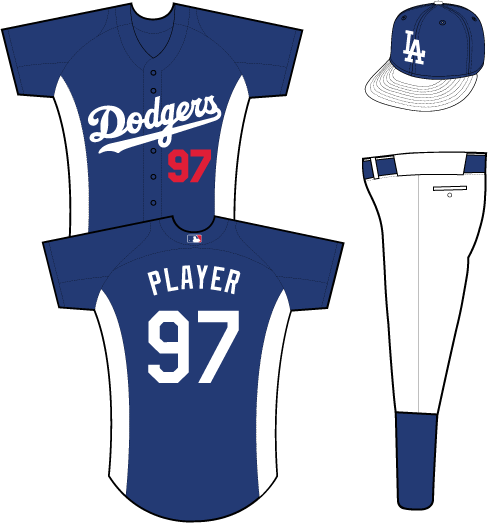 Los Angeles Dodgers Uniform Practice Uniform (2013) - Dodgers scripted in white on a blue uniform with white side panels SportsLogos.Net