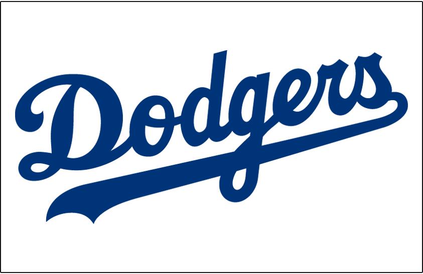 Los Angeles Dodgers Logo Jersey Logo (2003-Pres) - Dodgers script in blue, worn on home jersey since 2003. Wordmark tightened up for 2003 season  SportsLogos.Net