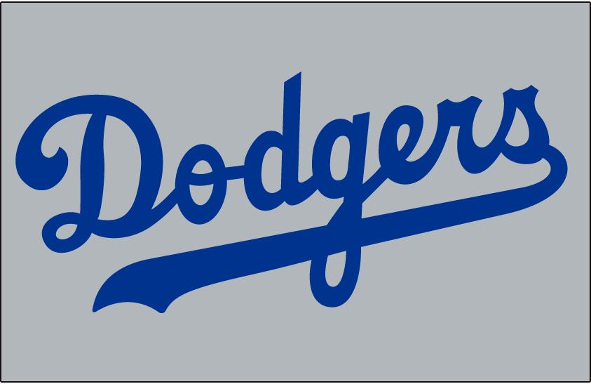 Los Angeles Dodgers Logo Jersey Logo (1958) - Dodgers in blue on grey, worn on Dodgers road jersey in 1958 SportsLogos.Net