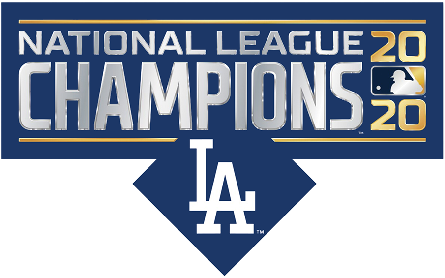 Los Angeles Dodgers Logo Champion Logo (2020) - The Los Angeles Dodgers 2020 National League Champions logo incorporates the template used across the slate of 2020 Postseason logos in Major League Baseball and includes the Dodgers' LA cap logo below on a blue diamond SportsLogos.Net