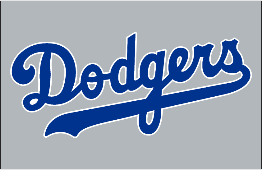 Los Angeles Dodgers Logo Jersey Logo (1971) - Dodgers in blue and white on grey, worn on Dodgers road jersey in 1971 SportsLogos.Net