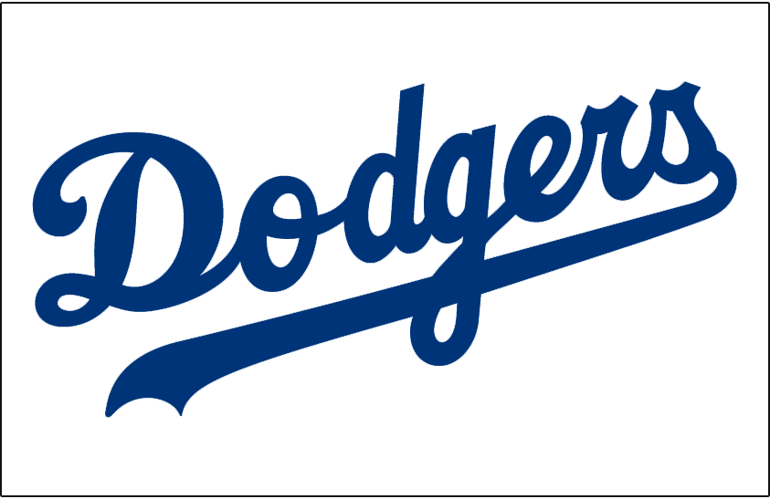 Los Angeles Dodgers Logo Jersey Logo (1972-1998) - Dodgers in blue on white, worn on Dodgers home jersey from 1972 through 1998 SportsLogos.Net