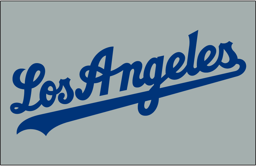 Los Angeles Dodgers Logo Jersey Logo (2007-Pres) - (Road) Los Angeles script in blue on grey SportsLogos.Net