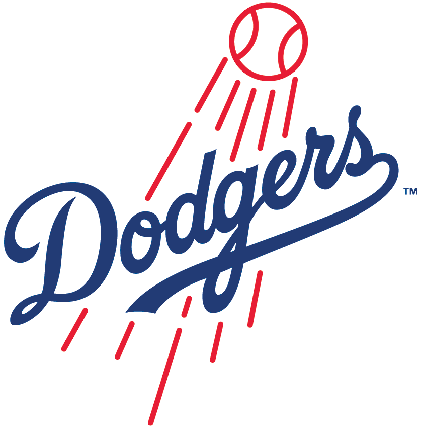 Los Angeles Dodgers Logo Primary Logo (2012-Pres) - The Dodgers' primary logo is modified for the 2012 season, with a thicker baseball and flight lines and a slightly-altered script SportsLogos.Net