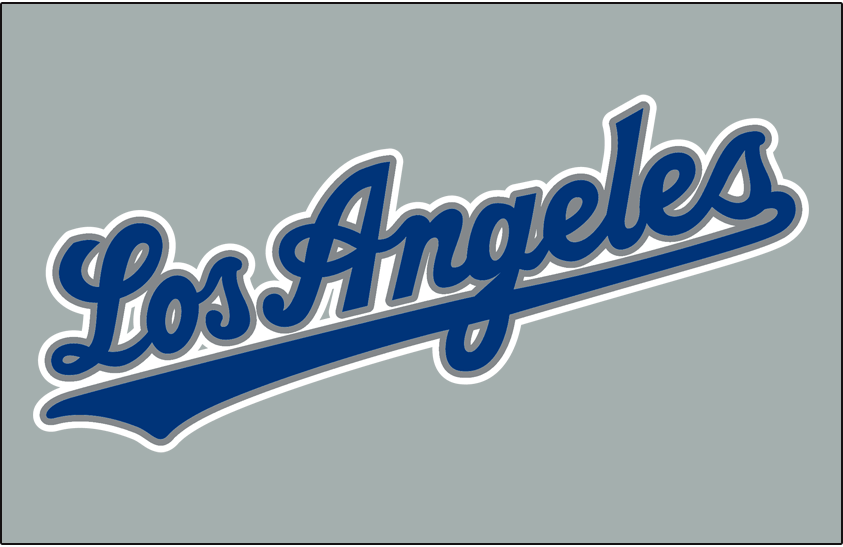 Los Angeles Dodgers Logo Jersey Logo (1999-2001) - (Road) Los Angeles script in blue with silver and white outlines SportsLogos.Net
