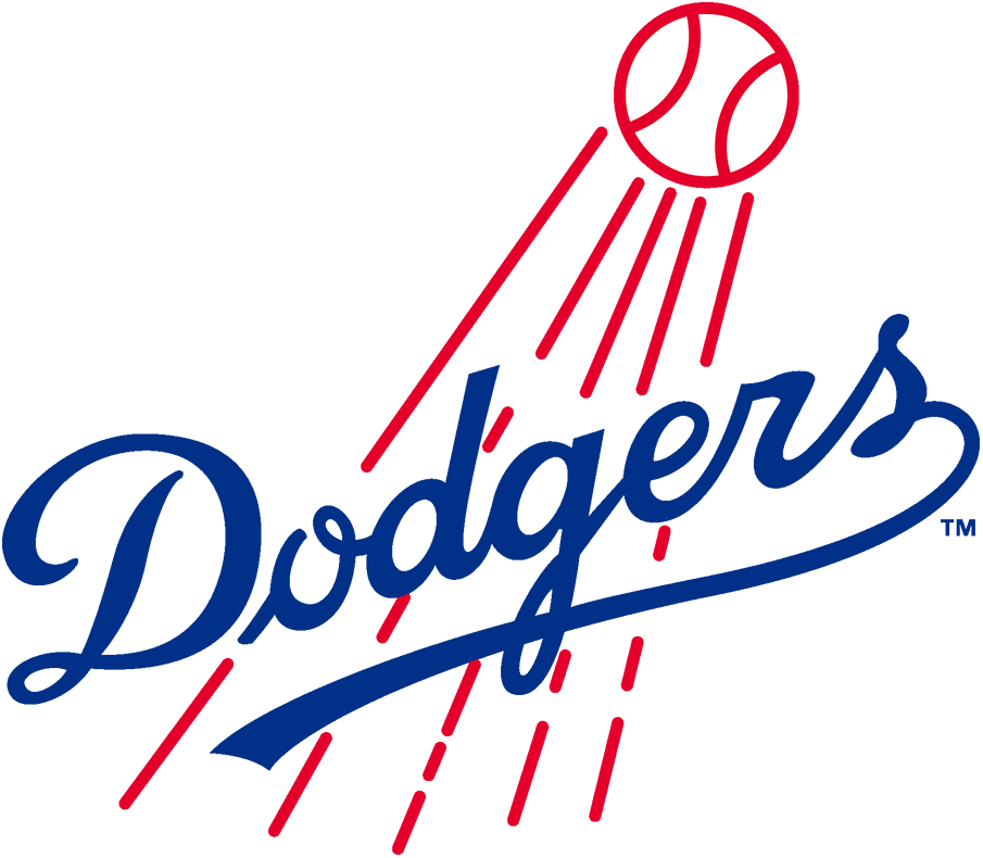 Los Angeles Dodgers Logo Primary Logo (1958-1967) - When the Brooklyn Dodgers moved across the United States to Los Angeles they used a logo which was basically the same as they had used before. For their first ten seasons in California, the LA Dodgers primary logo was this thin-scripted Dodgers mark in royal blue with a red baseball streaking by. This logo was used until the end of 1967. SportsLogos.Net