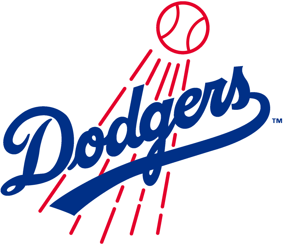 Los Angeles Dodgers Logo Primary Logo (1968-1971) - The Los Angeles Dodgers made some tweaks to their logo in 1968, most noticable is the scripted team name in blue was now much more thick than before. The red streaking baseball behind also was made thicker, and the entire logo was rotated slightly to the left. The Dodgers would continue to use this logo past 1971 but with a darker shade of blue. SportsLogos.Net
