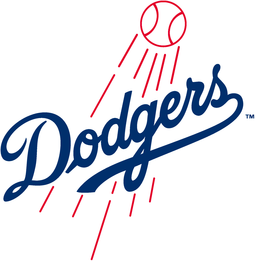 Los Angeles Dodgers Logo Primary Logo (1979-2011) - In 1979 the Los Angeles Dodgers undid a lot of the thickening of their previous logo, the Dodgers scripted wordmark was tilted slightly to the left, the letters were much thinner creating more space between each letter, and the soaring red baseball behind was also much thinner. This logo was used until 2011 when another tweak was made in time for 2012. SportsLogos.Net