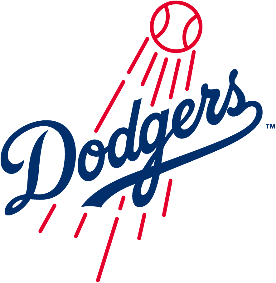 Los Angeles Dodgers Logo Primary Logo (2012-Pres) - The Los Angeles Dodgers logo shows the team name Dodgers scripted in blue across a red baseball soaring high into the sky. The basic format of this logo has been used since their days in Brooklyn dating back to 1945. In 2012 this logo received a minor update, lines were made more bold, the flight path of the ball was altered, and the scripted wordmark was cleaned up -- note the changes to the first D and the leading mark on the o. SportsLogos.Net