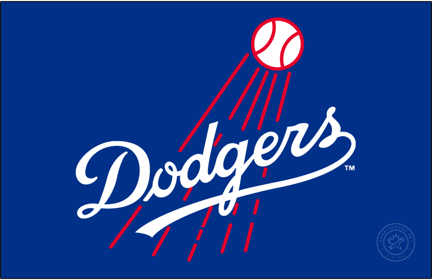 Los Angeles Dodgers Logo Primary Dark Logo (1958-1967) - When the Brooklyn Dodgers moved across the United States to Los Angeles they used a logo which was basically the same as they had used before. For their first ten seasons in California, the LA Dodgers primary logo was this thin-scripted Dodgers mark in royal blue with a red baseball streaking by. This logo was used until the end of 1967. SportsLogos.Net